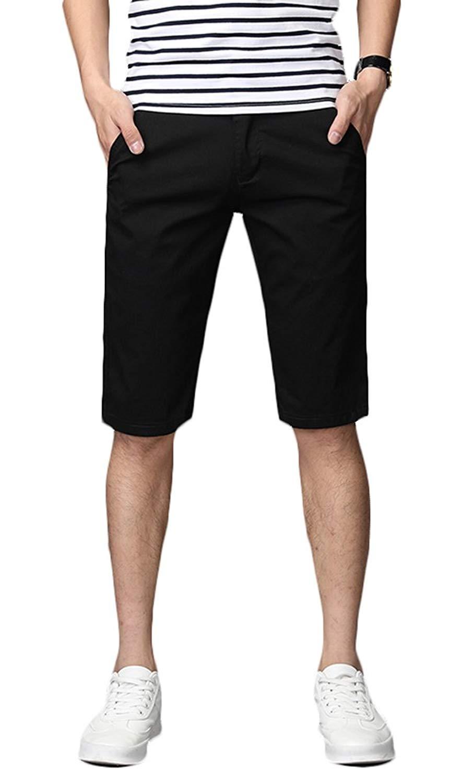 ONTBYB Mens Summer Skinny Sport Pants Stretch Solid Shorts