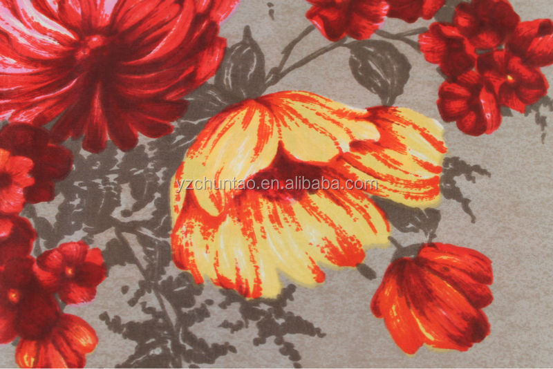 Digital Print 100% silk Red Floral Square Scarf