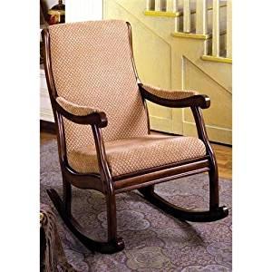 Mwave IDF-AC6408 Maynard Rocking Chair, Material: Wood, wood veneers, fabric, foam padding, Finish: Antique Oak