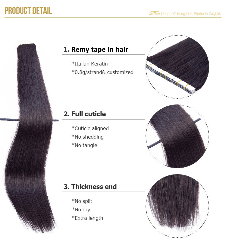 2019 factory direct shipping high quality double drawn remy human tape hair extension