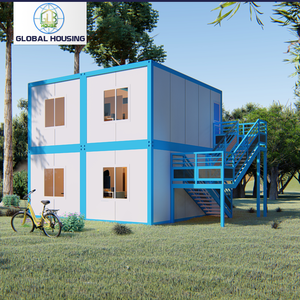 4 sets flat pack container house build double deck armrest staircase for house , leisurely pace of hometown life