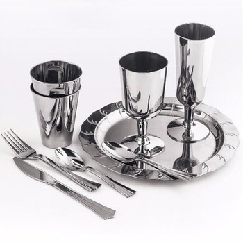 Silver Plated Plastic Dinnerware Set