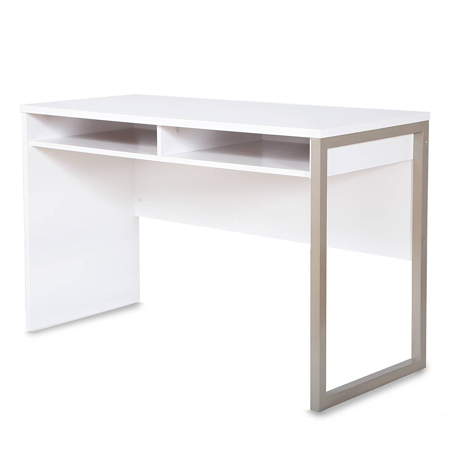 Elegant Modern Style Desk, Features Beautiful Metal Leg Support and Light-Colored Finish, Enhance Your Room, Includes Two Open Storage Spaces, Sturdy Construction, Pure White + Expert Guide