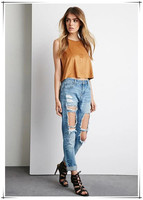 destroyed red blue Women 2017 new fashion denim jeans destroyed