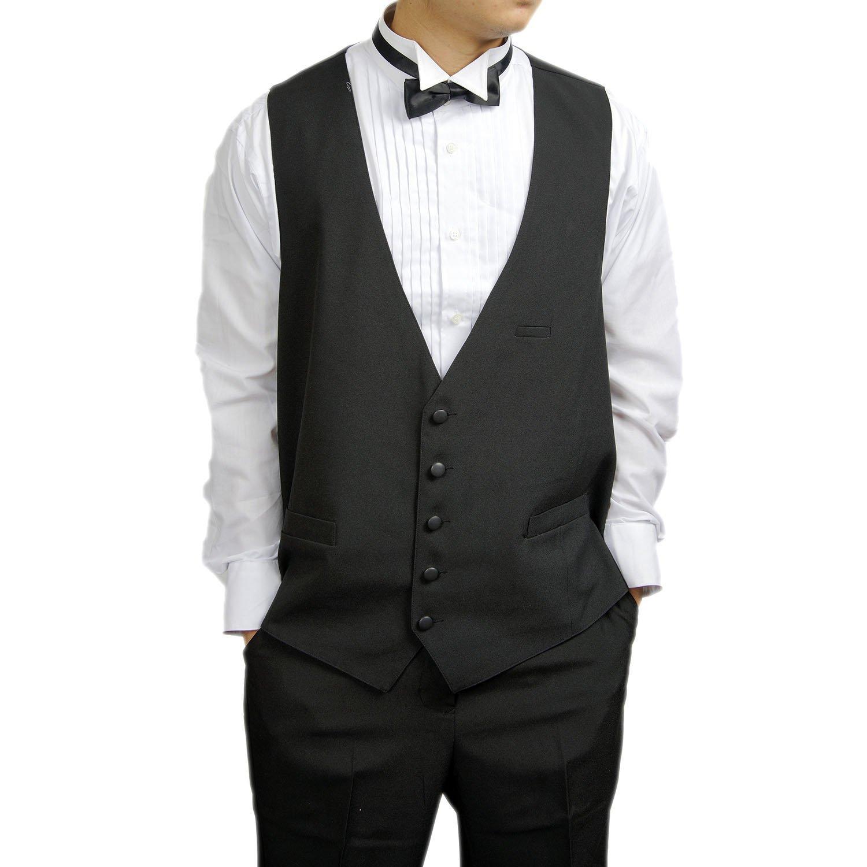 0db6f60159b354 Get Quotations · Men's Black 5 Button Dress Vest Black for Suit Separate or  Tuxedo