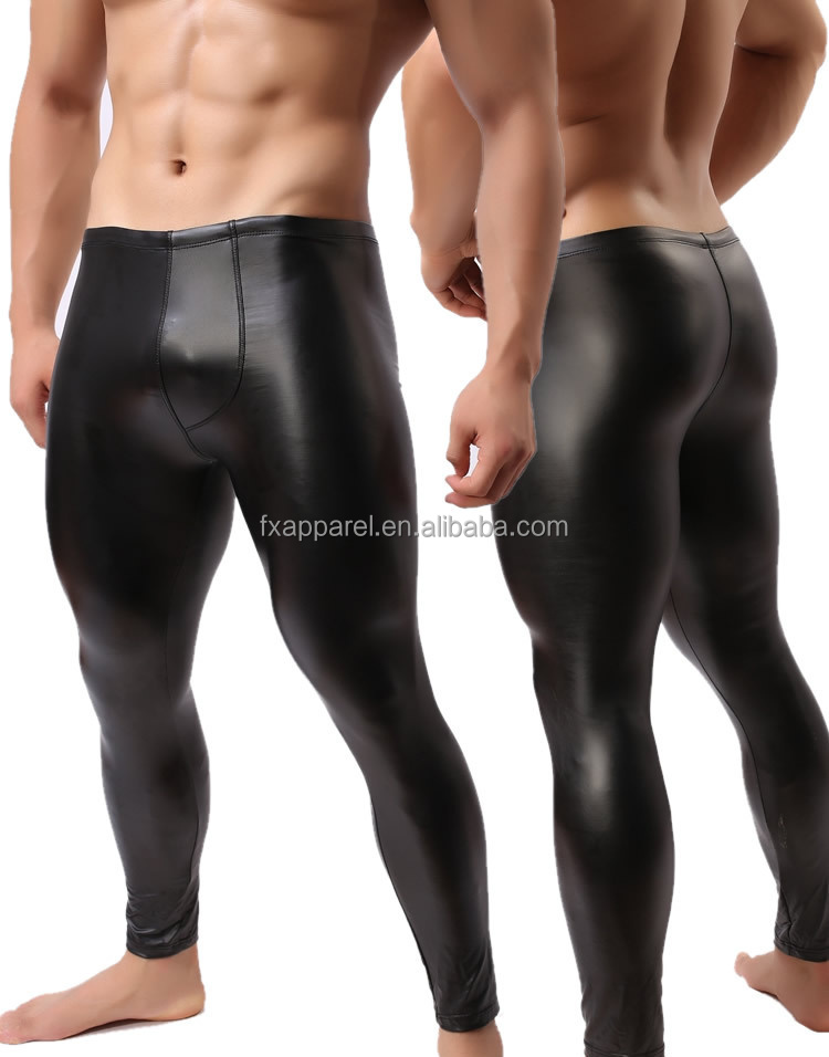 Men Club Leather Long Pants Black Sexy Leather Tight Club Trousers For Men M8153