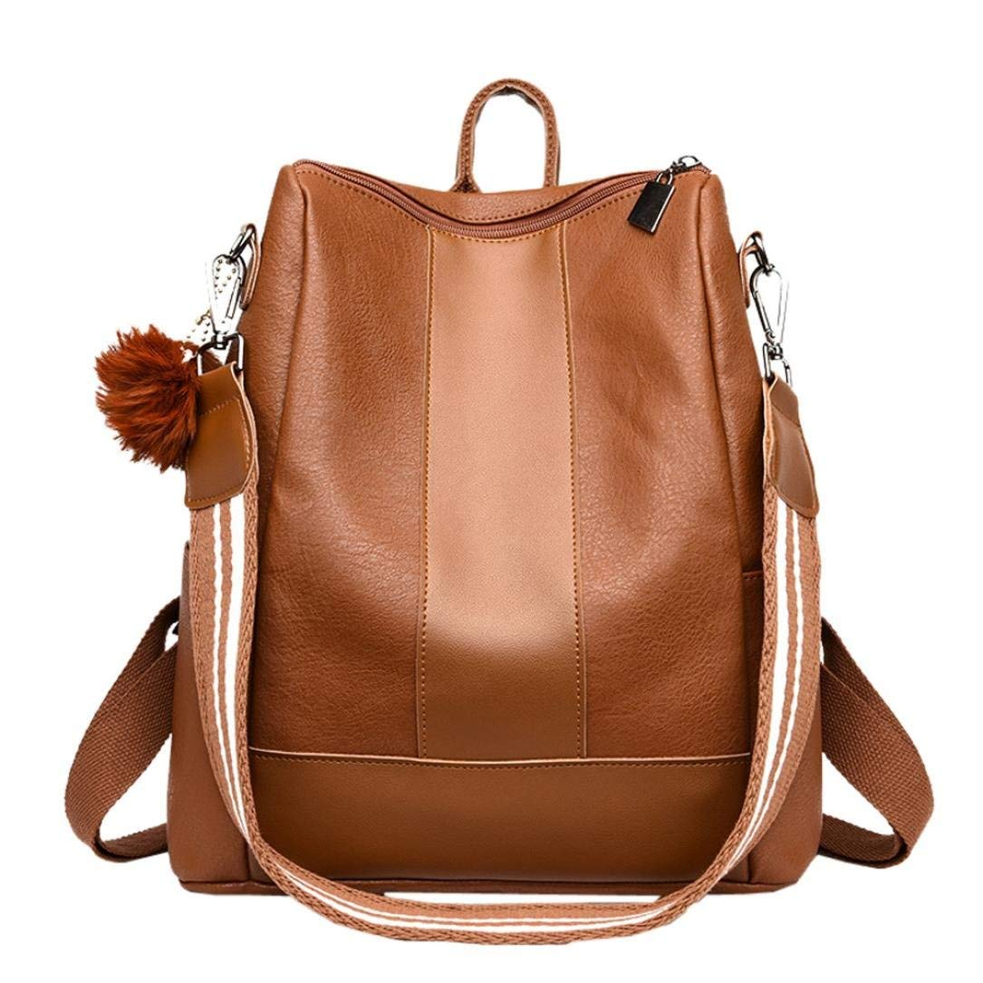 819dc417f6 Get Quotations · Womens Backpack PU Leather Multi-Way Girls School Satchel  Travel Backpack with Hairball Pendant (