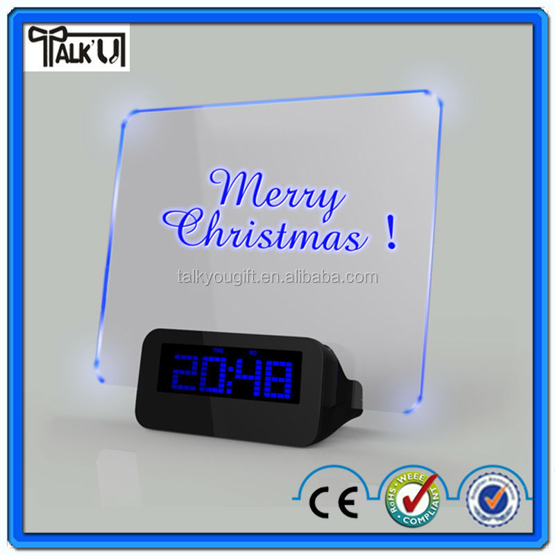 Hot sale Led Clock/Table Message Board Alarm Clock /Message Board Alarm Clock