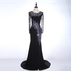 Hot Selling Beauty Black High Long Sleeve Sexy Beaded Tulle Mermaid Evening Dress