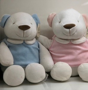 plush bear toys newborn 100% cotton soft blue pink bear stuffed toys