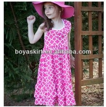 Newest 2014 Baby Girl Maxi Boutique100%Knit Cotton Quatroleavian dress for Kids Ruffled Maxi Clothing Set