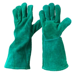 mechanic green leather welding working gloves