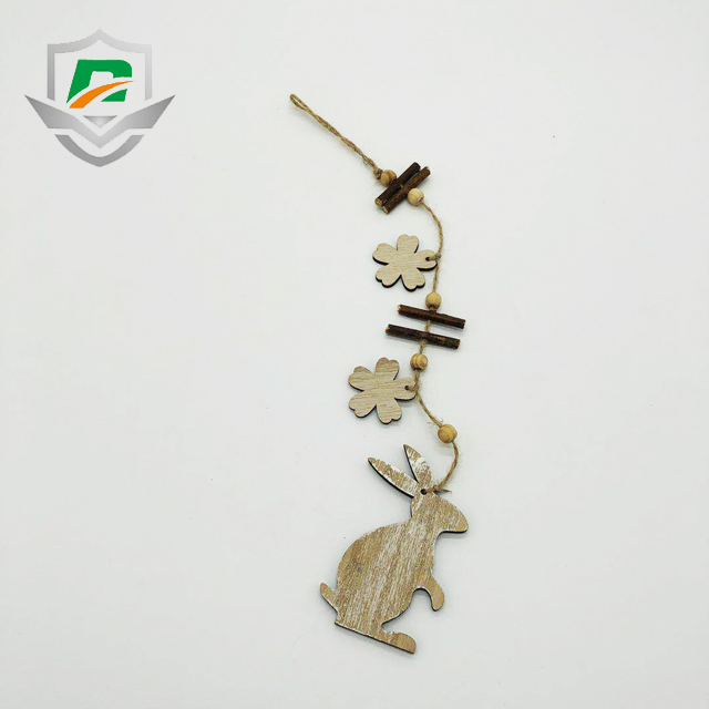2018 new design wooden sticks rabbit flower arts and crafts easter house decoration hang on the door wall tree
