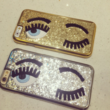 New Arrival 2015 3D Fashion Chiara Ferragni Sequins Big Blinking Eyes Case for iPhone5 5s 6 iPhone 6 Plus Bling Phone Case Cover