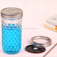 8oz quilted crystal half pint mason glass jelly jar for fresh preserving