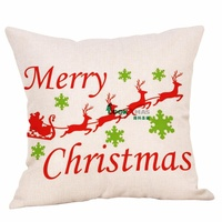 Merry Christmas Series Snow Reindeer Luxury Soft Warm Gift Square Couch Cushion Pillow
