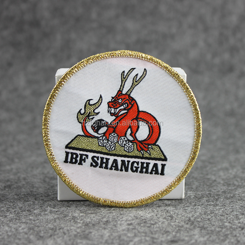 custom iron on dragon embroidered patches gold thread border for garments