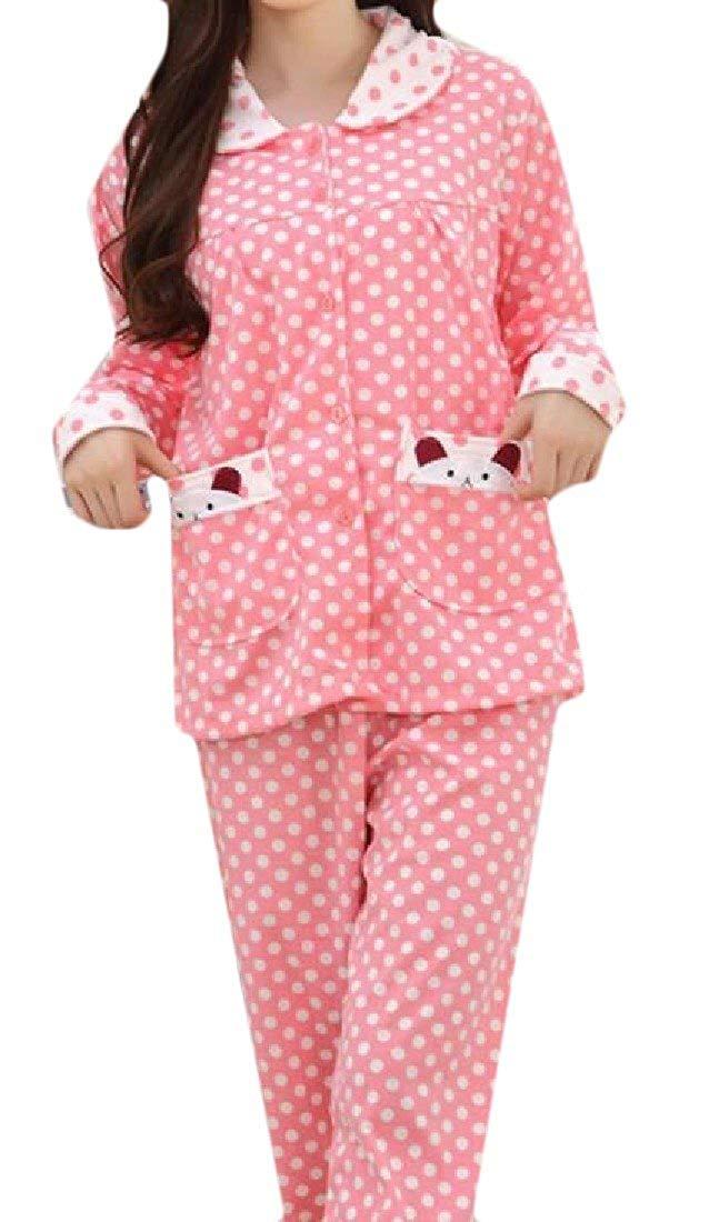 Sheng Xi Womens Pockets Printed Stitching Potlka Dot Pajama Sleepwear Set