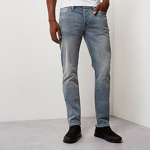 2017 Slim fit men jeans Mid chalky blue Dylan mens slim fit jeans