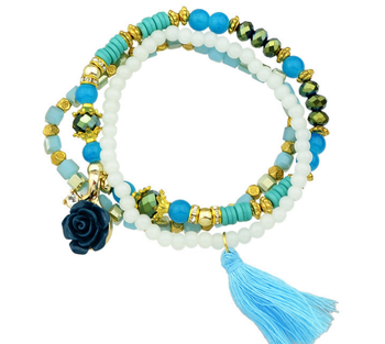 B53-018 Bohemia Charms Multi Layers Bracelets for Women Gold Ethnic Style Beads Crystal Stone & Tassel Bracelet Jewelry