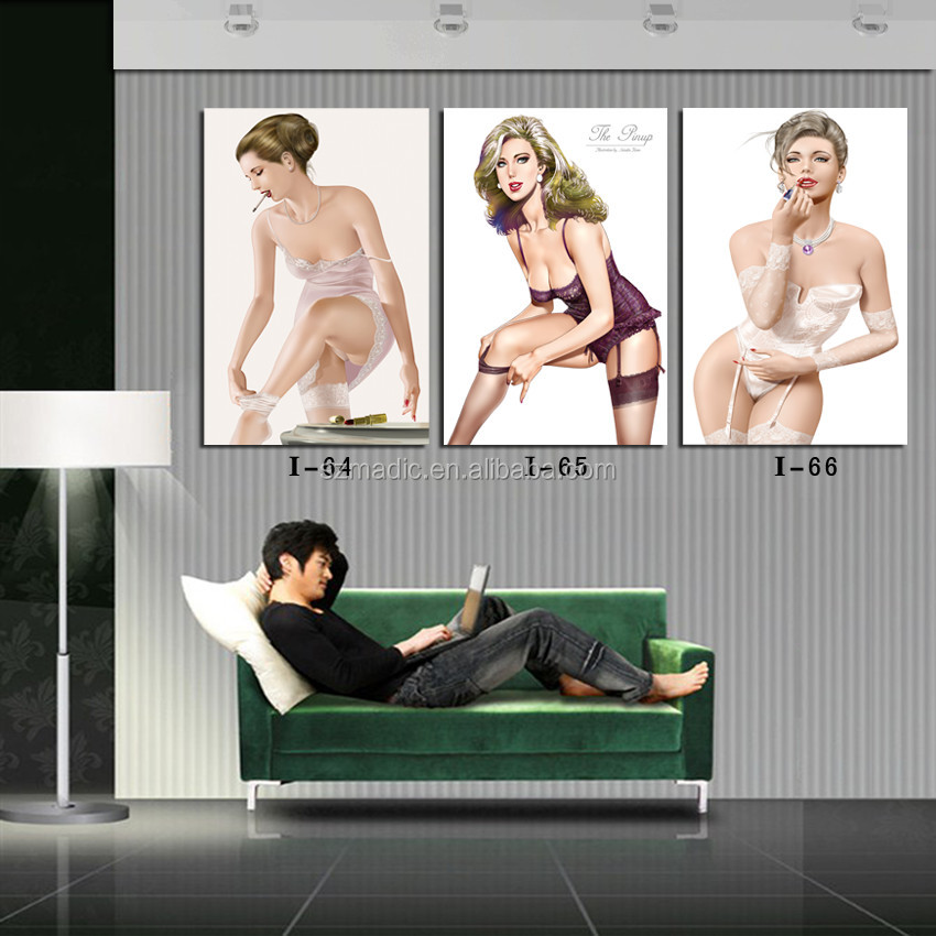 Discount Canvas Prints 3 Panel Wall Art Painting on canvas Sexy Women Lingerie Store Decoration