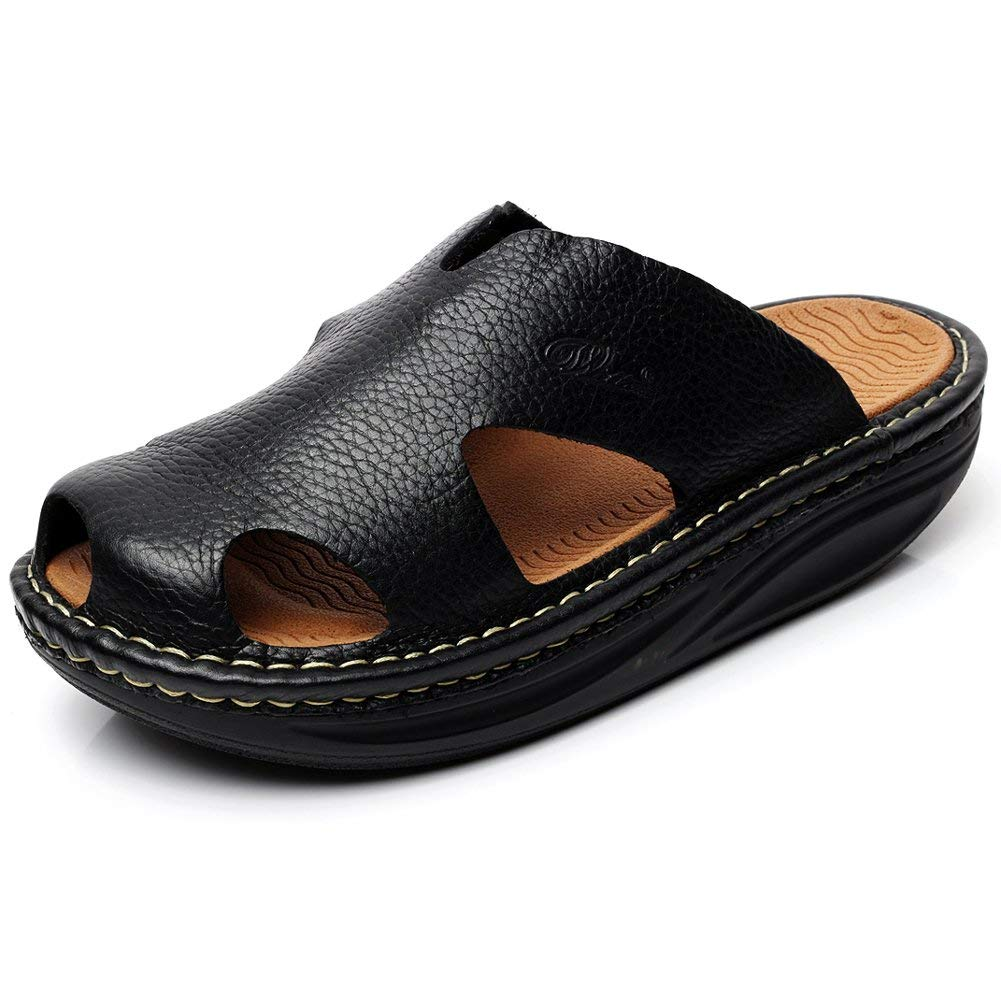 8f1495d756a37b rismart Men s High-End Genuine Leather Sandal Slippers Comfort Platform  Clogs Mules