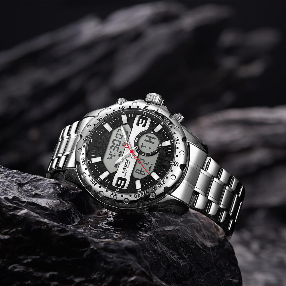 جديد نمط 3ATM مقاومة للماء Relogio Masculino ساعات الفولاذ الفرقة LCD الرقمية ساعة يد رياضية الرجال الفاخرة