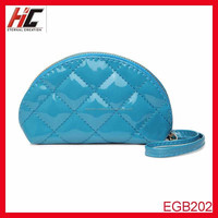 2015 wholesale hong kong PU faux patent leather quilted cosmetic bag small cosmetic bag