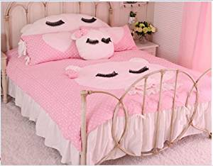 Sisbay Hello Kitty Bedding, Baby Girls Cat Cartoon Duvet cover,Child Pink Bed Skirt,Twin Queen King Size