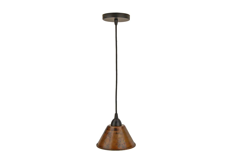 Premier Copper Products L300DB 7-Inch Hand Hammered Copper Cone Pendant Light, Oil Rubbed Bronze