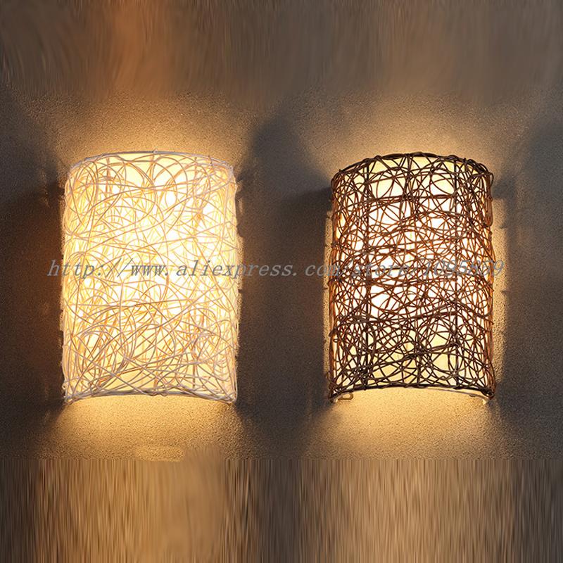 compra wall lamps rattan online al por mayor de china mayoristas de wall lamps rattan. Black Bedroom Furniture Sets. Home Design Ideas