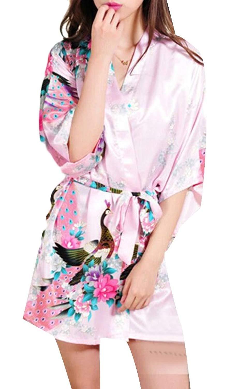 bb07c84467 Get Quotations · WSPLYSPJY Women s Satin Short Kimono Robe Bathrobe  Sleepwear Bathrobe with Belt Pink XXS