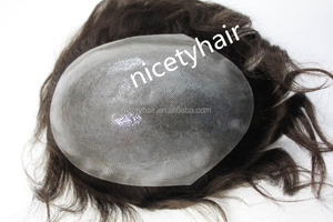 Best quality super fine men toupee human hair in stock mono strip back +mono top +Full swiss lace