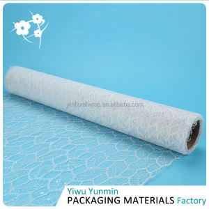 New Arrival attractive style Glitter Maple Leaves mesh floral wrap roll gift packing