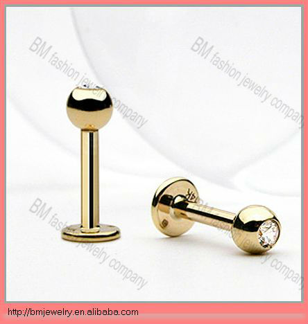 CZ diamond gold plated monroe labret stud body piercing hot free lips rings