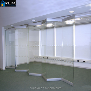 Aluminum Frameless Folding Sliding Glass Door Interior Use Glass ...