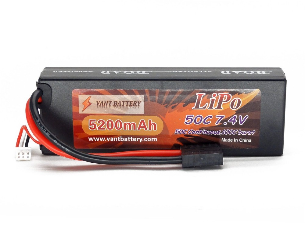 Sales Promotion 7.4V 5200mAh 2S Cell 50C-100C HardCase ROAR APPROVED LiPo Battery Pack w/ Traxxas High Current Connector