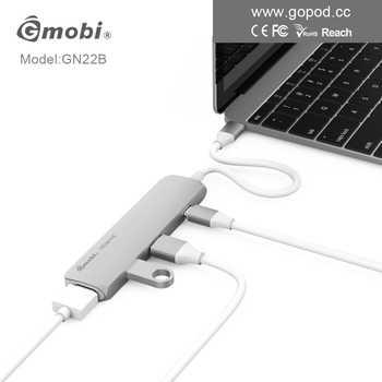 Gmobi 4 port 4 in 1 usb 3.1 type-c hub with usb3.0 hub and HDMI port