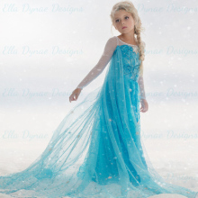 New fashion wholesale Frozen Princess Girl Queen Elsa Anna Cosplay Costume Party Dress frozen