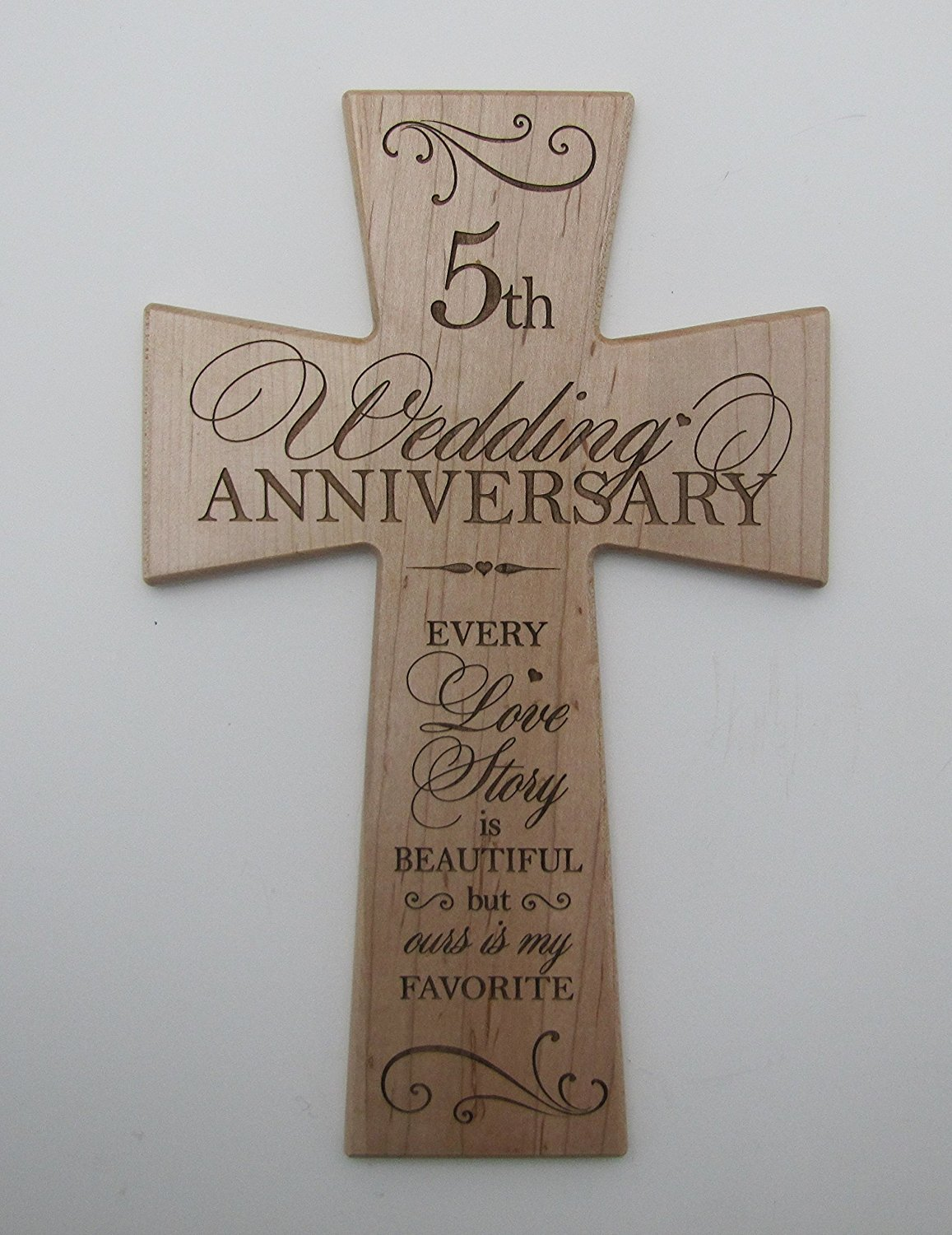 Buy 5th Wedding Anniversary Maple Wood Wall Cross Gift for Couple, 5 ...