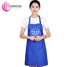 100% Cotton free printing logo adjustable adult apron cooking /royal blue promotion Advertisement gift kitchen apron cheap price