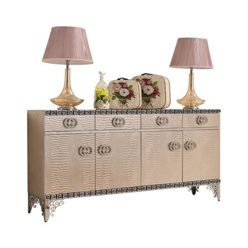 F442 Modern Contemporary Stainless Steel Silver/golden Imitated Leather  Luxury Neoclassic Sideboard Buffet Table Shoe