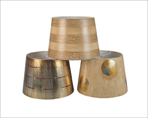 Gold Printing Paper Lamp Shade Drum Table Lamp Covers , Customized Size & Colors