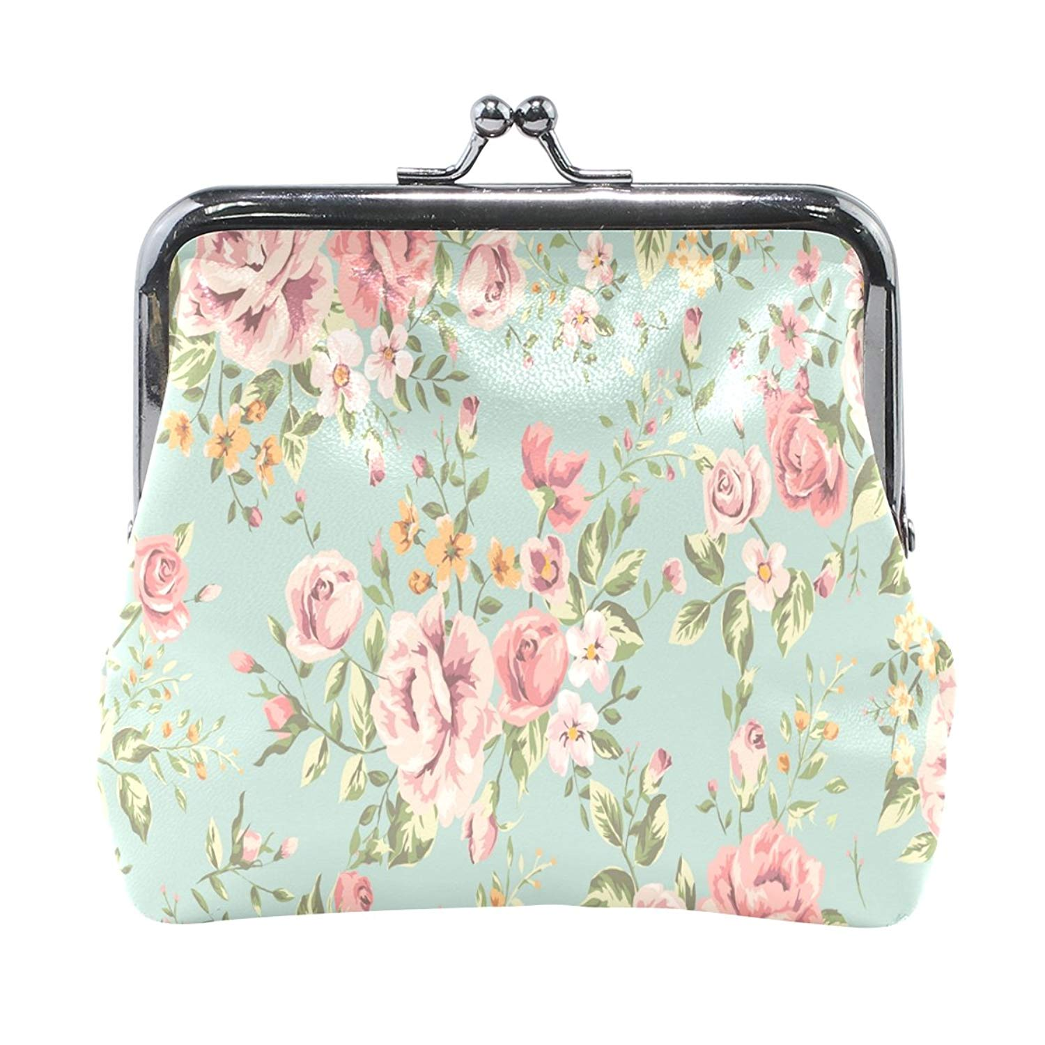 Vintage Flower Pattern High Grade Leather Coin Purse Snap Closure Clutch Coin Wallet