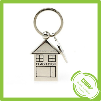 Customized Metal House Shape U Disk with Keychain