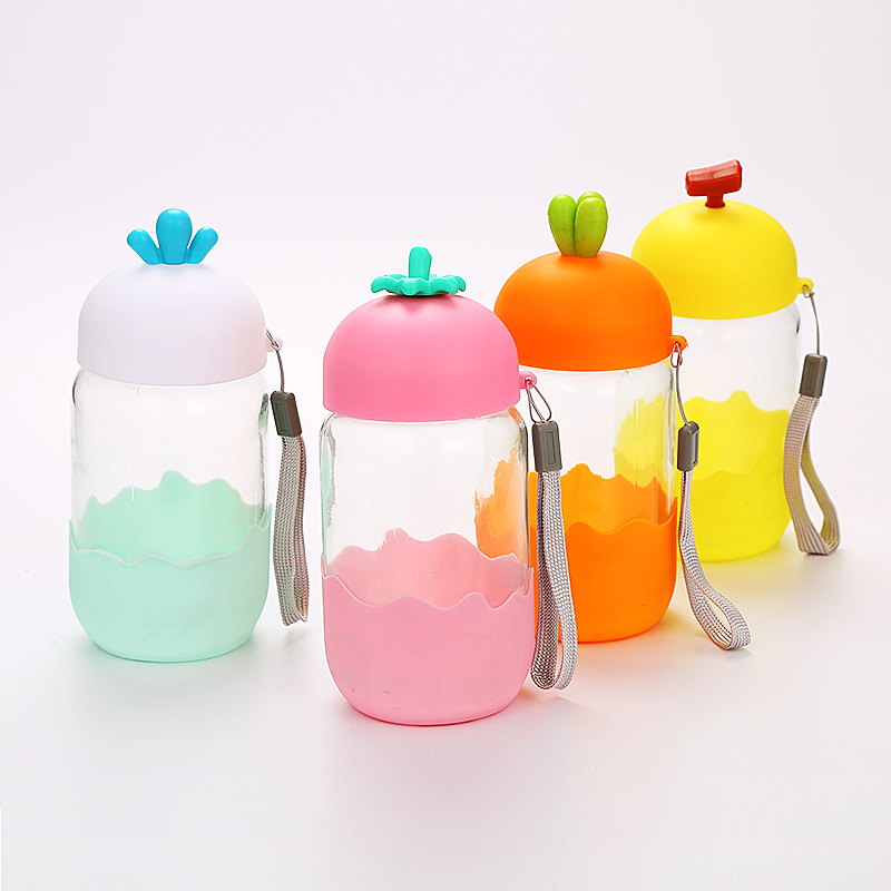 KA014 Cheap glass Cartoon Water <strong>Bottle</strong> for Kids