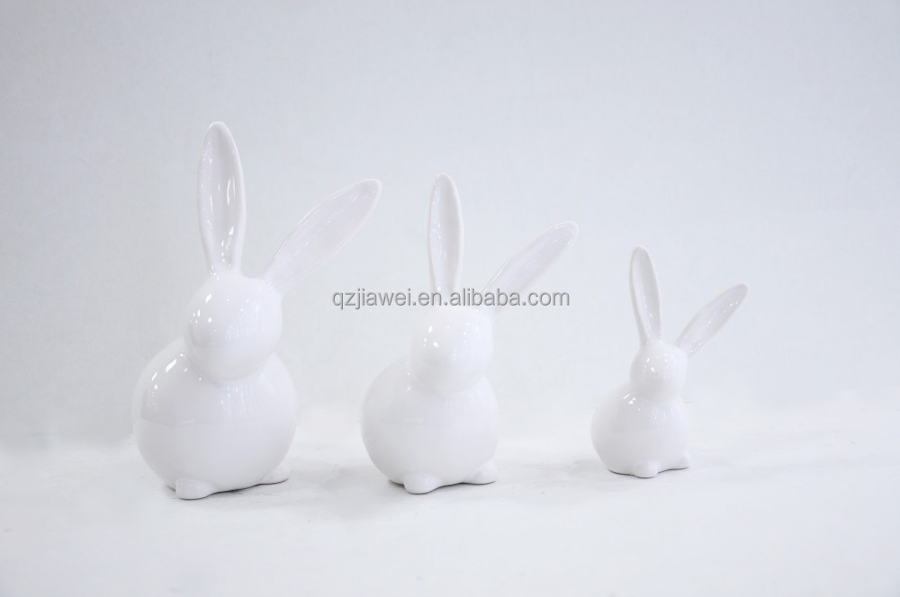 Cute Craft Decorative easter ceramic white rabbits deocrations for Easter