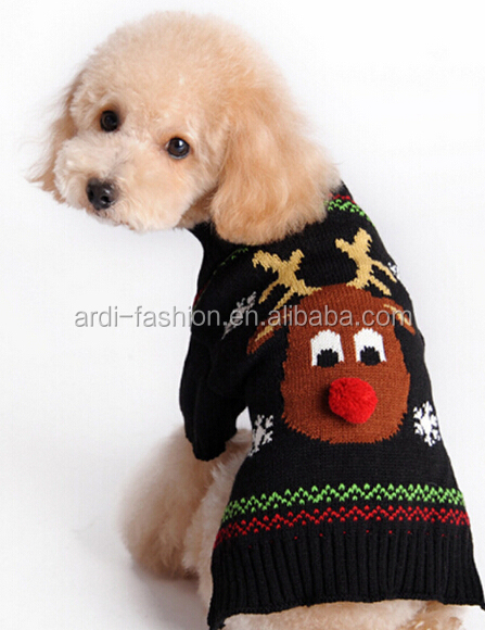 new arrival reindeer thick christmas dog knitted sweater