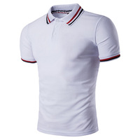 New Design personality striped placket short sleeve Polo Shirt For Men