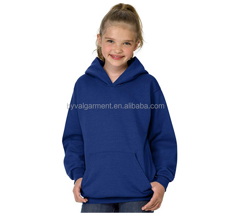 Byval Customized logo design fleece children pullover plain blank girl hoodies